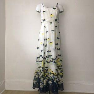 Vintage floral spaghetti strap maxi dress